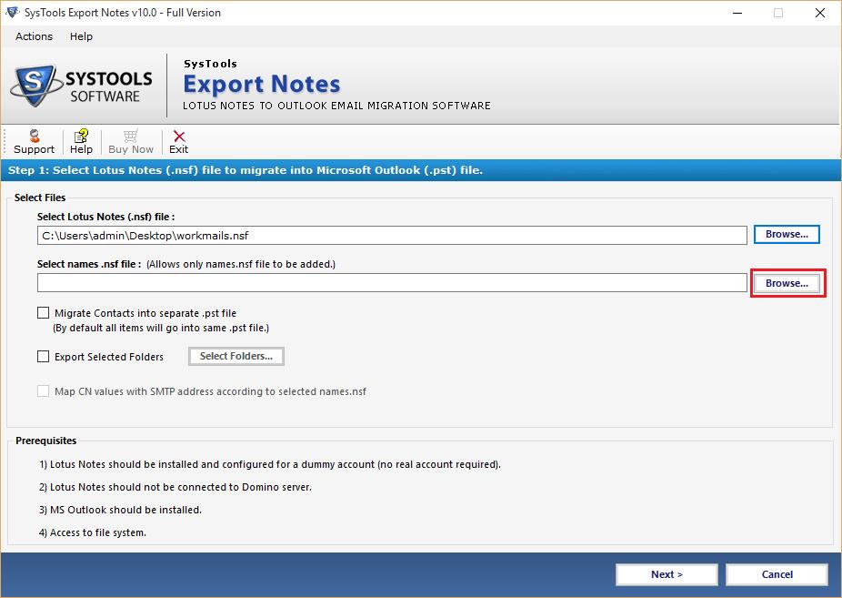 Export Lotus Notes Names.nsf Files