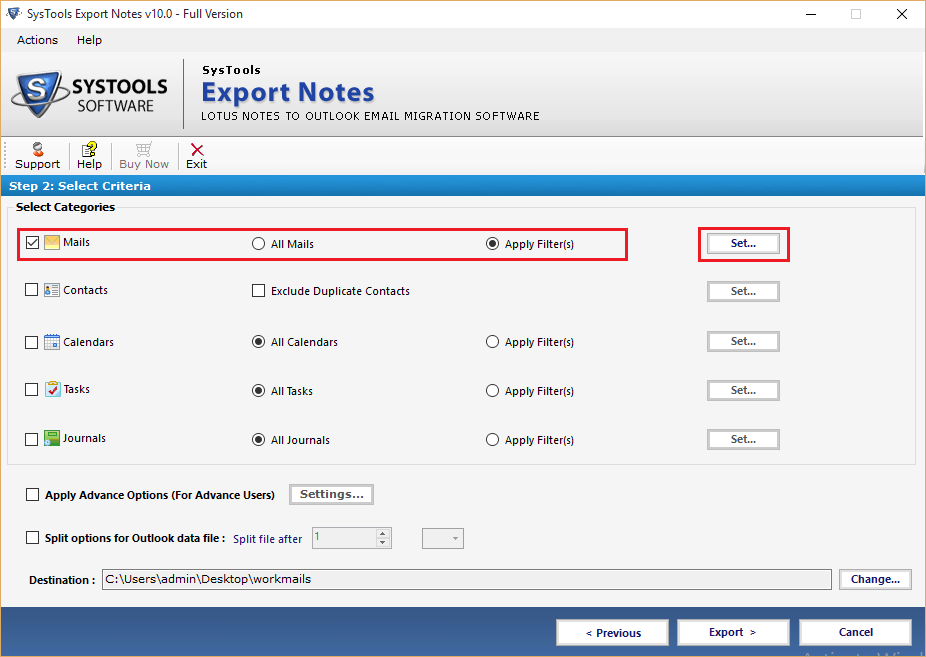 Selective Export Emails from Lotus Notes to Outlook