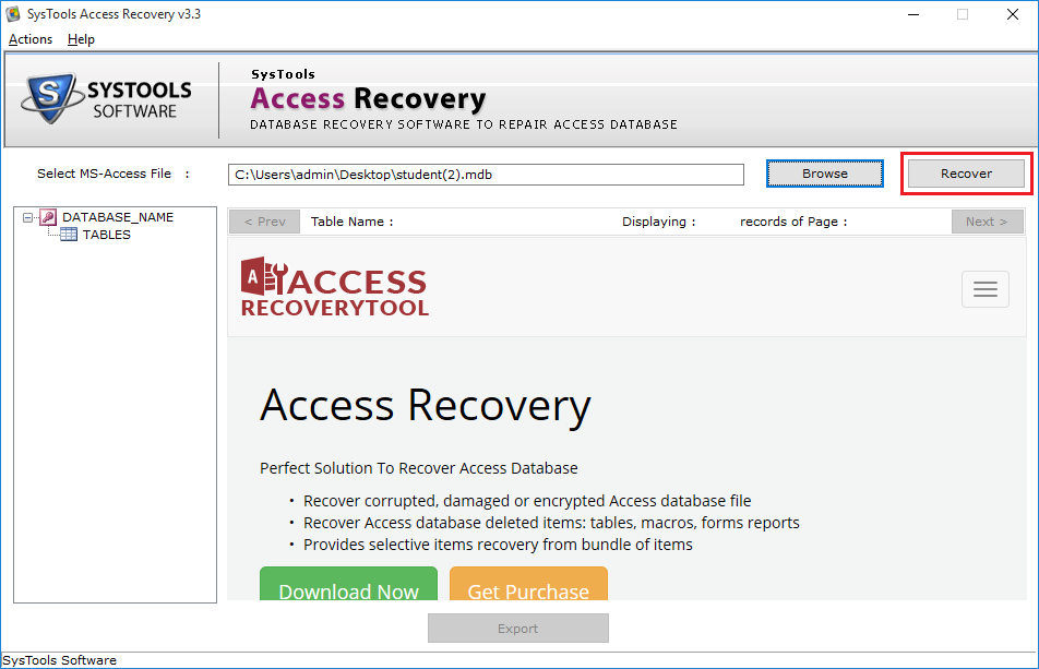 accdb file recovery