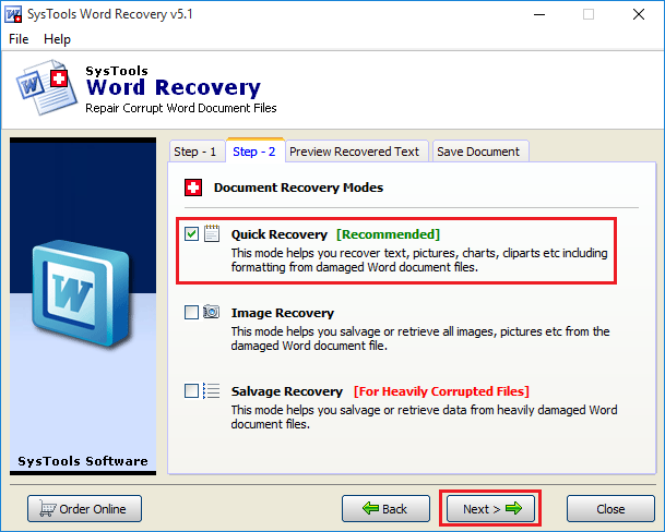 recover text from word file