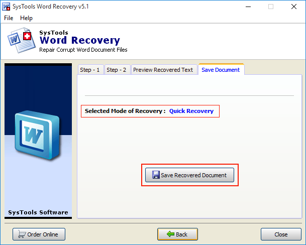 recover data from word document